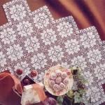 çeyizlik kare çiçek motifli 2013 dantel sehpa takımı modeli