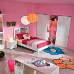 çiçekli şık pembe renkli kullanışlı ranzalı kız çocuk odası modelleri örnekleri