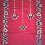 çiçekli kandil desenli etamin nakışlı çeyizlik seccade modeli
