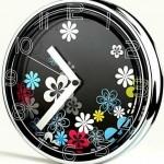 çiçekli metal dekoratif duvar saat modeli