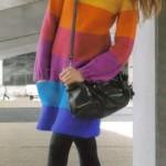 örgü çok renkli modern tunik modeli