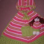 şık bebekli cepli örgü kız çocuk bebek panço örnekleri modelleri