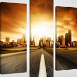 şehir yol temalı üç parçalı kanvas tablo modeli