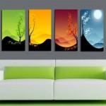 4 parça mevsim renkleriyle uyumlu kanvas tablo modeli
