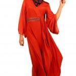 açık kırmızı Armine Abiye Modeli