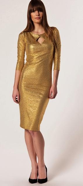 altın sarısı renkli pullu şık 2013 afrodit bayan elbise modeli