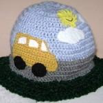 araba motifli örgü çocuk şapka modeli