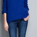asimetrik hem mavi zara bayan kazak modeli