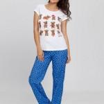 ayıcıklı mavi beyaz puantiyeli yeni lc waikiki bayan pijama modeli