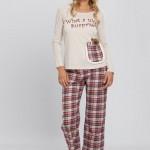aycıklı ekoseli kışlık lc waikiki bayan pijama modeli