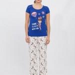 balon desenli mavi renkli lc waikiki bayan pijama takımı modeli