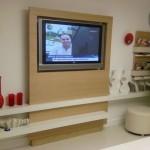 beyaz bej renkli  2013 lcd tv ünite sehpa modeli