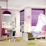 beyaz renkli ceviz mobilyalı aynalı dolaplı kız çocuk odası tasarımları örnekleri