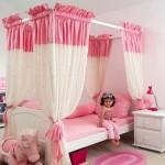 beyaz renkli klasik tasarımlı pembe beyaz renkli cibinlikli kız çocuk odası örnekleri modelleri