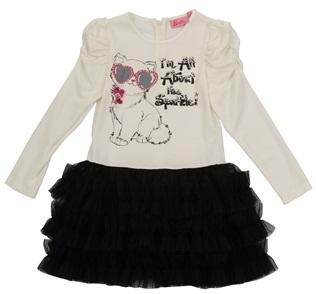 beyaz siyah kedi baskılı kışlık kız çocuk elbise modeli