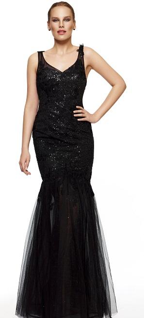 deniz kızı kesimli uzun abiye elbise modeli