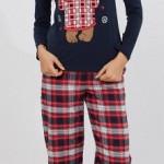 ekoseli lacivert renkli ayıcıklı lc waikiki bayan pijama takımı modeli