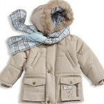 ekru yakası kürklü kışlık kız çocuk mont modeli
