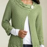 fıstık yeşili renkli örgü bayan tunik modeli