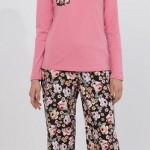 gül desenli pembe renkli kışlık lc waikiki bayan pijama takımı modeli
