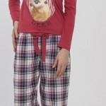 geyik baskılı ekoseli kırmızı renkli kışlık lc waikiki bayan pijama takımı modeli