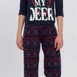 geyik baskılı lacivert renkli şık lc waikiki bayan pijama takımı modeli