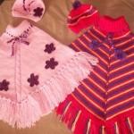 iki farklı bebek kız çocuk panço modeli örneği