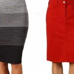 kırmızı renkli kot kumaşlı diz üstü etek boylu olan etek önden düğmelidir diğer modelde şeritli uzun bel kısmı ile şık tasarlanmış bir kalem etek örneğidir.