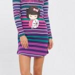 japon kız baskılı çizgili lc waikiki bayan pijama modeli