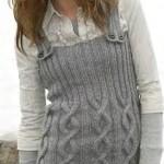 kül rengi askılı örgü bayan tunik modeli
