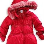kırmızı puanlı astarlı kışlık kız çocuk mont modeli