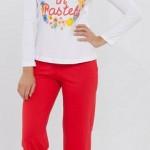 kırmızı renkli kalpli şık kışlık lc waikiki bayan pijama takımı modeli