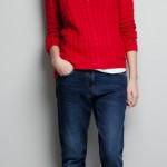 kırmızı v yaka zara bayan kazak modeli