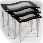 kahve renkli cam yüzeyli metal ayaklı dekoratif 2013 zigon sehpa modeli