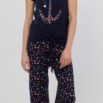 kalp çapa desenli şık lc waikiki bayan pijama takımı modeli