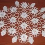 kanser desenli çiçekli el yapımı dantel sehpa takımı modeli