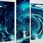 lacivert dagalı su dalgalı kanvas tablo modeli