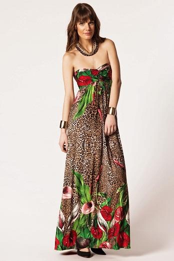 desenli çiçekli uzun askısız 2013 afrodit bayan elbise modeli