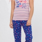 mavi fiyonklu şık lc waikiki bayan pijama takımı modeli