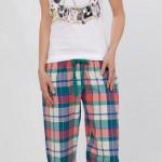 mavi pembe ekoseli şık lc waikiki bayan pijama takımı modeli