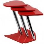 metal ayaklı kırmızı renkli lakeli 2013 zigon sehpa modeli