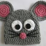 minik fare desenli çocuk şapka modeli