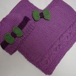 mor renkli fiyonklu v yakalı şapkalı örgü kız çocuk panço modelleri örnekleri