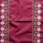 mor seccade pembe çiçek desenli etamin nakışlı çeyizlik seccade modeli