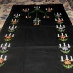 mumlu kandil desenli etamin nakışlı çeyizlik seccade modeli
