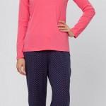 pembe renkli fiyonklu puantiyeli lc waikiki bayan pijama modeli