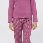 pembe renkli v yakalı kışlık lc waikiki bayan pijama takımı modeli