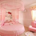 pembe renkli yuvarlak yataklı hello kity desenli cibinlikli kız çocuk odası modelleri örnekleri