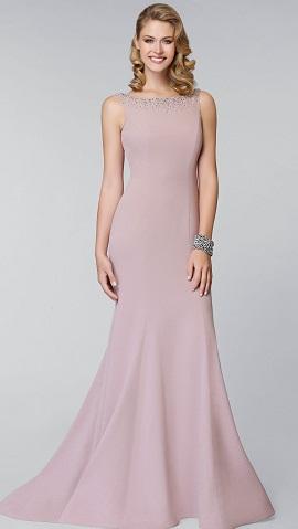 pudra renkli metal taşlı uzun abiye elbise modeli