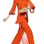 pullu turuncu renkli kışlık abiye modeli